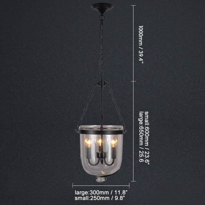Retro-Rustic-Clear-Glass-Bell-Jar-Shade-Hanging-Pendant-Light-amp-3-Candle-Lights thumbnail 18