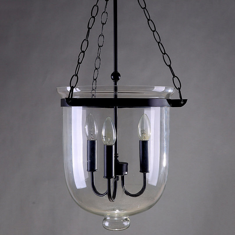 Retro-Rustic-Clear-Glass-Bell-Jar-Shade-Hanging-Pendant-Light-amp-3-Candle-Lights thumbnail 13