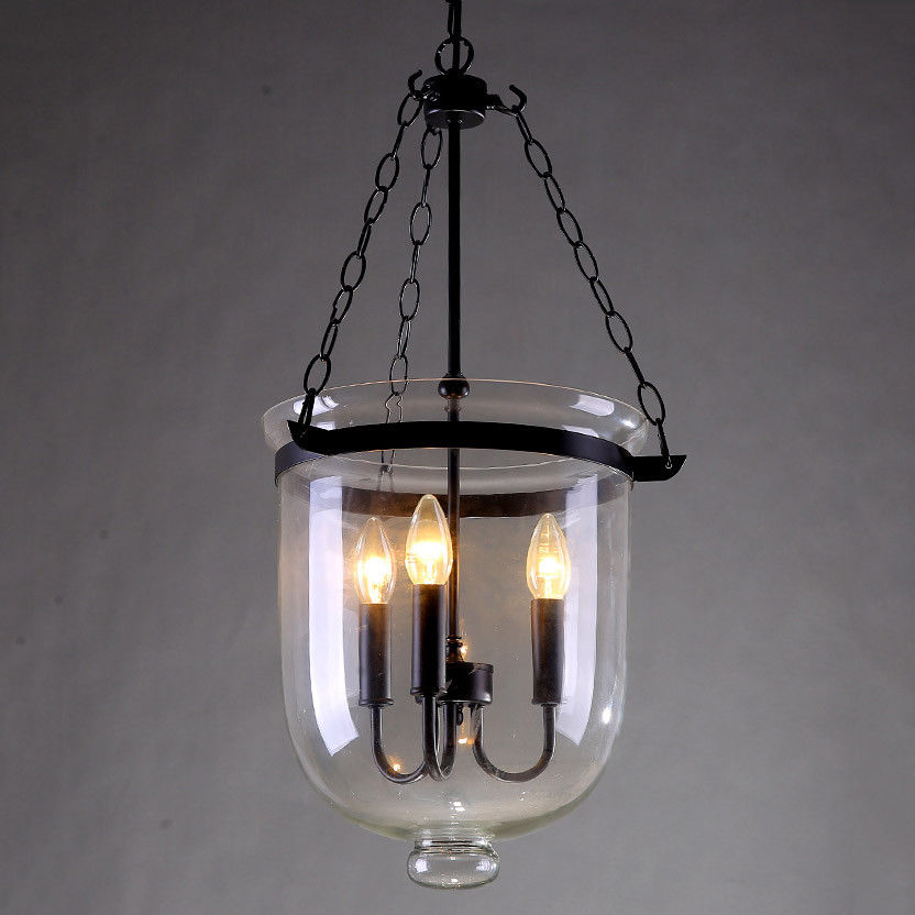Retro-Rustic-Clear-Glass-Bell-Jar-Shade-Hanging-Pendant-Light-amp-3-Candle-Lights thumbnail 12
