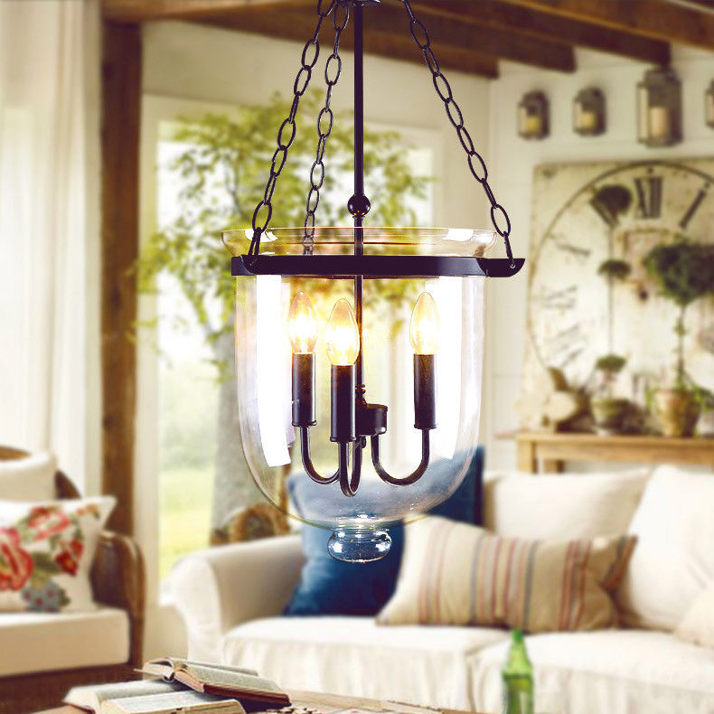 Retro-Rustic-Clear-Glass-Bell-Jar-Shade-Hanging-Pendant-Light-amp-3-Candle-Lights thumbnail 11