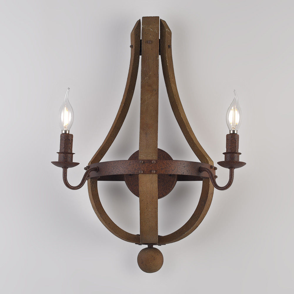 Rustic Wine Barrel Stave Wood Candle Wall Sconce Fixture ... on Wood Wall Sconces Decorative Lighting id=52722