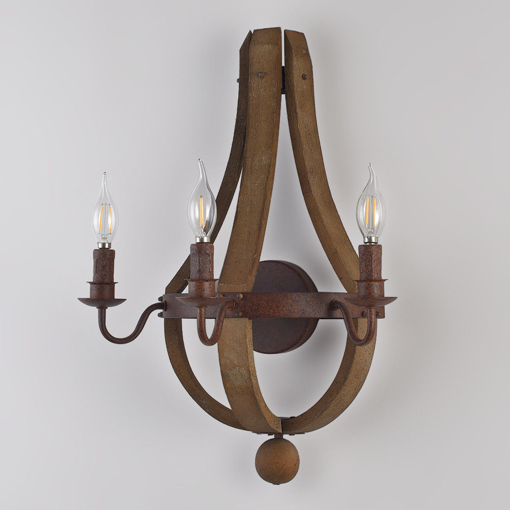 Rustic Wine Barrel Stave Wood Candle Wall Sconce Fixture ... on Wood Wall Sconces Decorative Lighting id=83309
