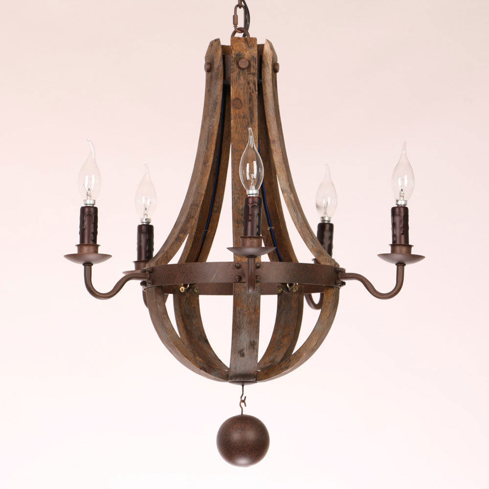 Rustic Wood & Rust Metal Ceiling Lamp with Candle Light ...