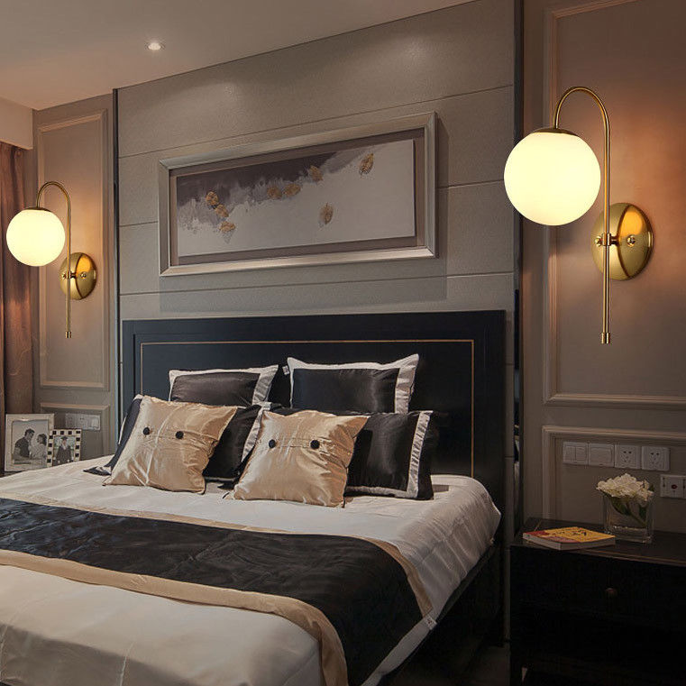 Details about Modern Brass Metal Arm Glass Globe Indoor Sconce Bedroom Wall  Light Lamp Fixture