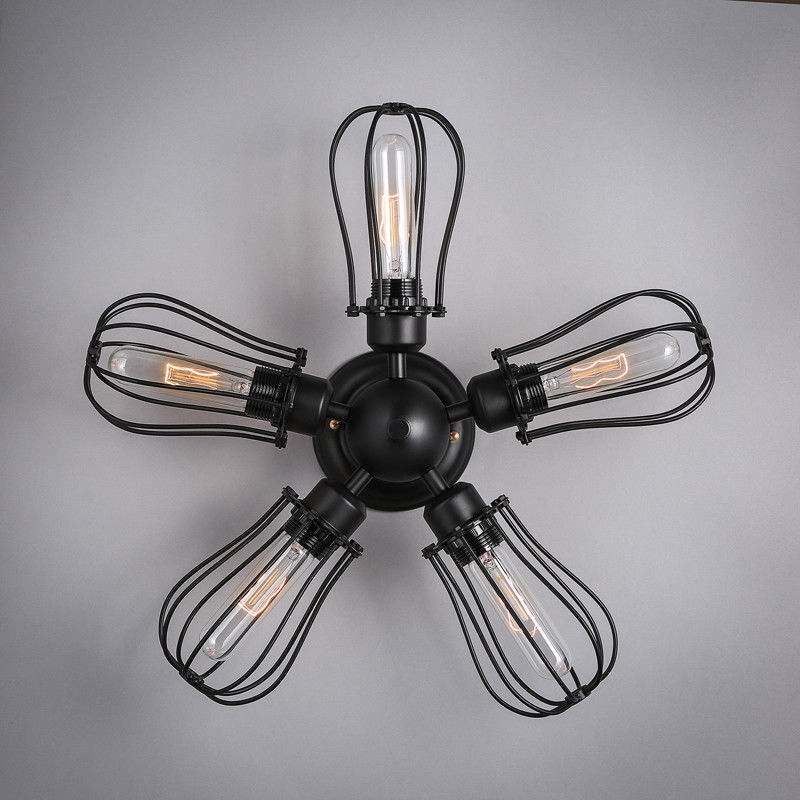 Industrial Style Black Wire Cage 5 Lights Metal Semi Flush ...
