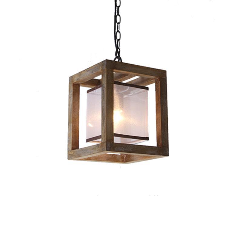 Farmhouse Weathered Wood Square 1-Light Hanging Lantern ...
