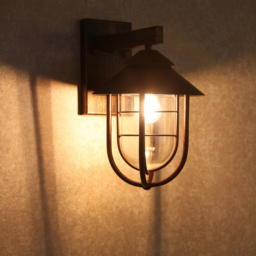 Antique Copper Cage Nautical Wall Light Vintage Indoor ...