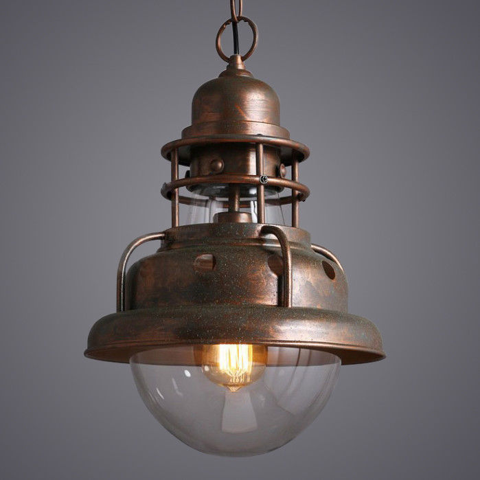 Rocamar Copper And Glass Single Pendant: Industrial Clear Glass Shade Antique Copper Dome Single