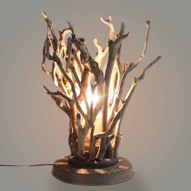 Solid Wooden Base Handmade Natural Tree Branches Table Lamp For