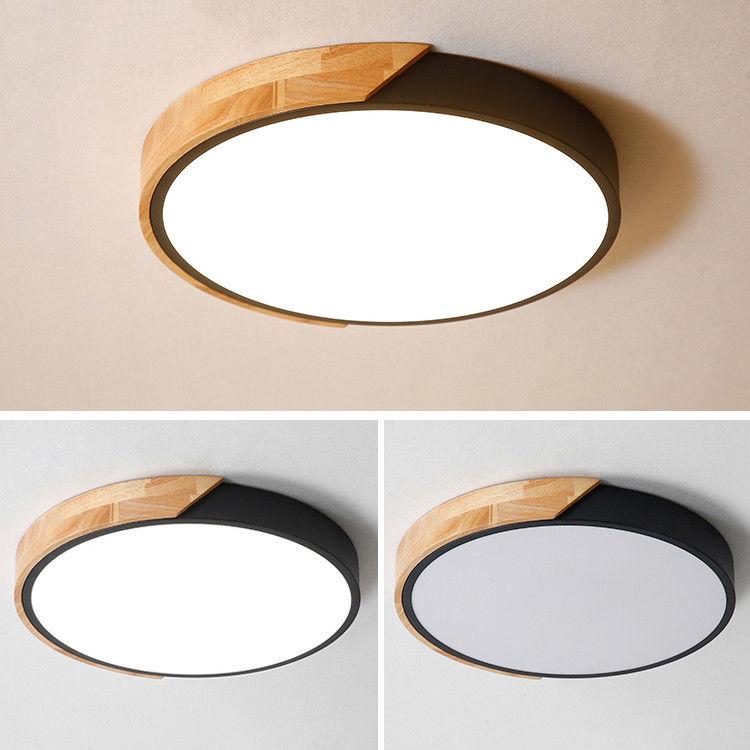 new style 6651d d18fb Details about Modern Black LED Ceiling Light Round Drum Chandelier Lamp  Bedroom Kitchen 110V