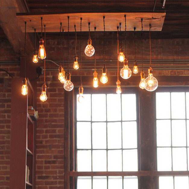 Details about Vintage Wood Plank 18-Light Large Chandelier Dining Kitchen  Island Pendant Lamp