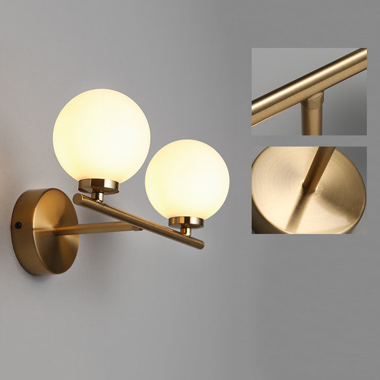 Details About Modern Milky White Globe Glass Indoor Wall Sconce Bathroom Vanity Light Fixture