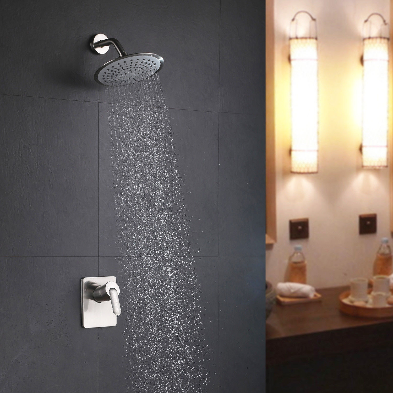 Details About Wall Mounted Brushed Nickel Rain Showerhead System Modern Bathroom Shower Set