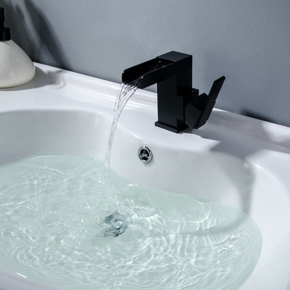 One Hole Solid Black Waterfall Bathroom Washing Sink Faucet With