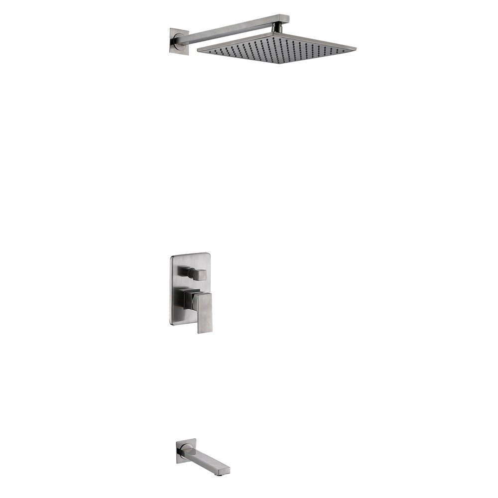 Modern Wall Mounted Brass Square Rain Shower System Tub Spout
