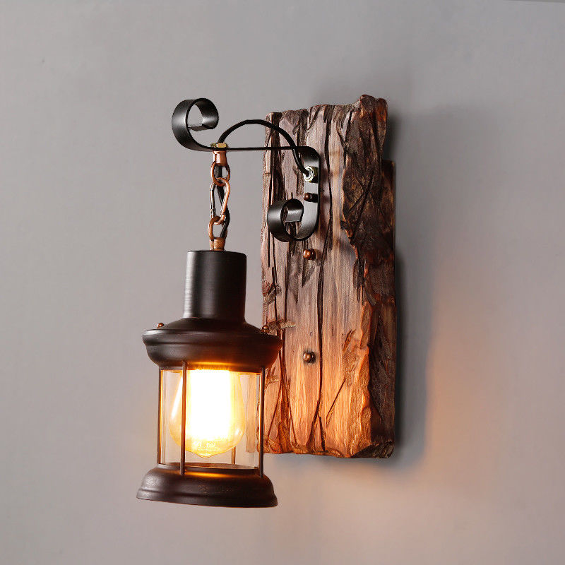 Rustic Porch Light Metal Glass Lantern Single Wall Sconce ... on Wood And Metal Wall Sconces id=80968