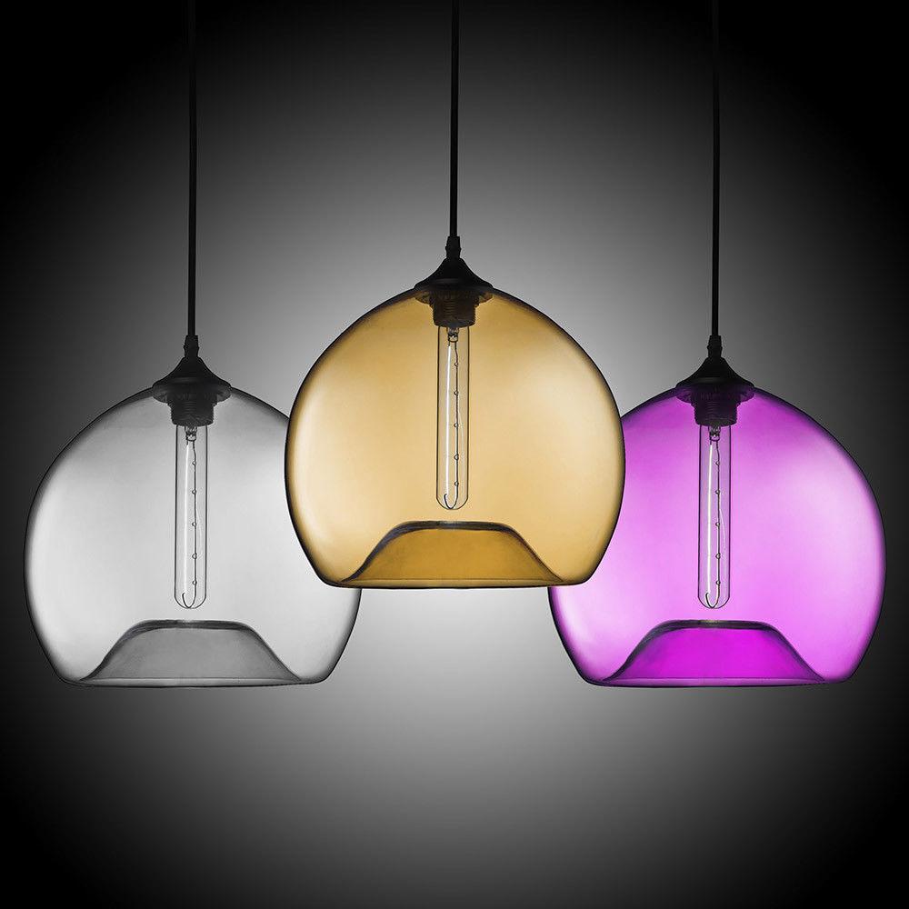 Details About Modern Hand Blown Glass Single Light Concave Globe Pendant Light Ceiling Lamp