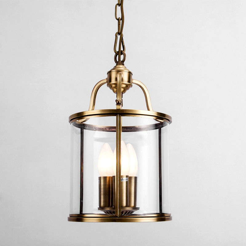 3 Candle Light Brass Cylindrical Hanging Suspended Pendant