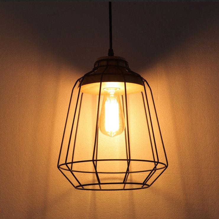 Black Metal Cage Wood Art Pendant Lamp Hanging Single ...