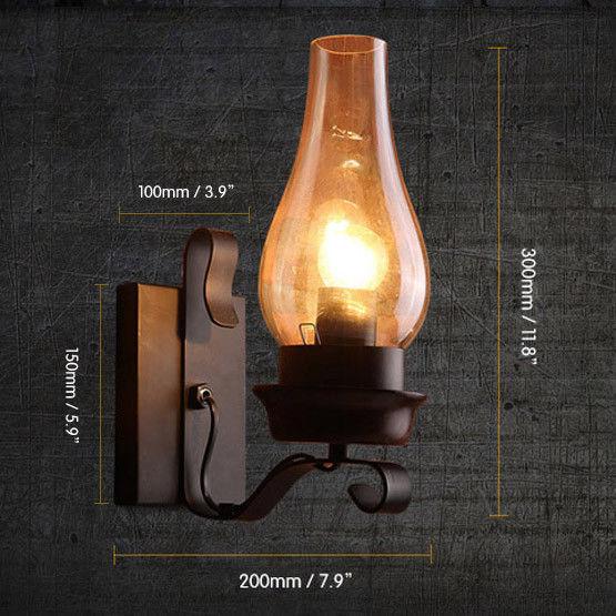 Rustic Vintage 1-Light Glass Chimney Shade Indoor Outdoor ...