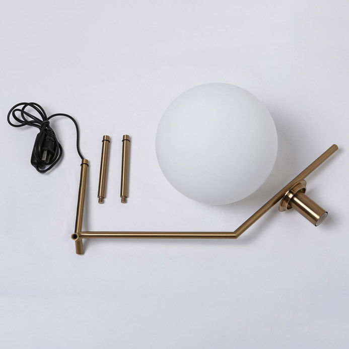 Modern White Glass Globe Shade Led 1 Light Brass Table