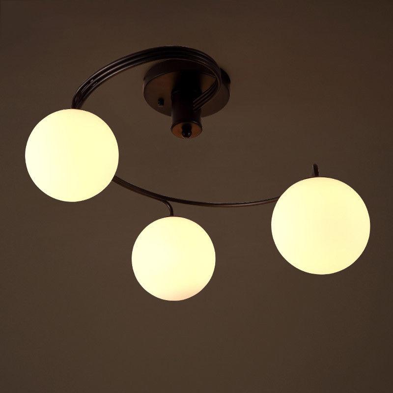 Modern Black Metal&Globe Glass 3/5-Light Ceiling Lamp