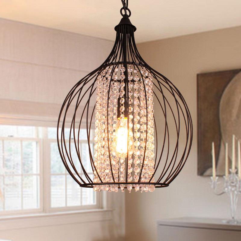 Industrial Metal Cage Hanging Pendant Lamp Crystal Bead