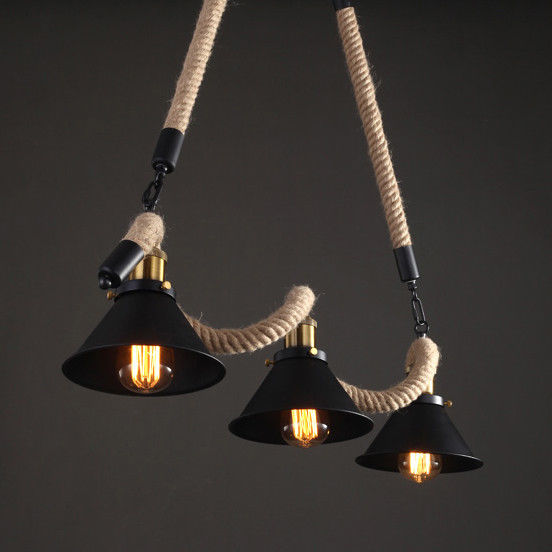 Rope Lights Kitchen: Industrial Kitchen Island Pendant Light Hemp Rope Hanging