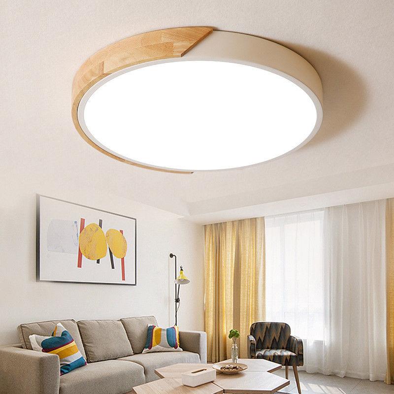 charming modern wood ceiling bedroom   Modern Wood Metal Acrylic Flush Mount Light LED Drum ...