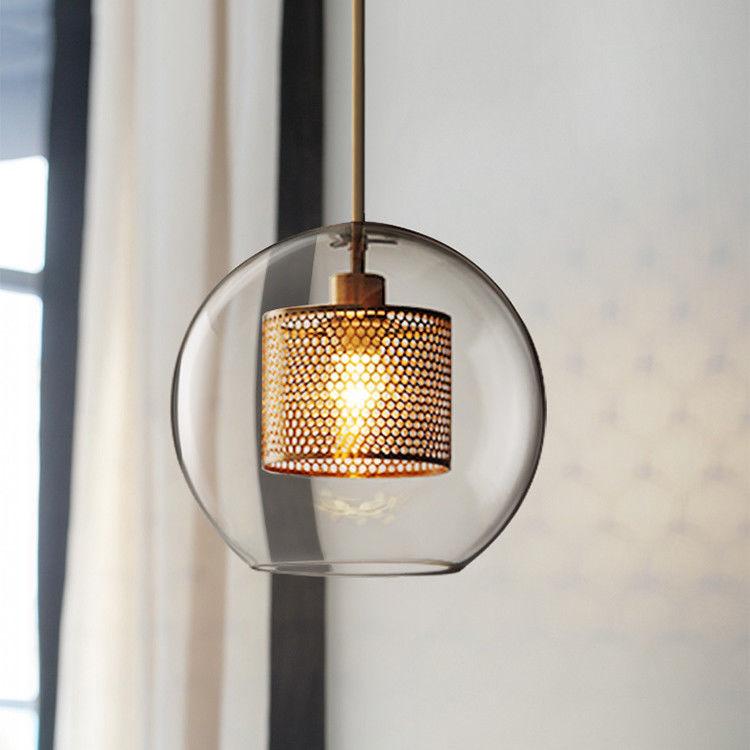 Modern Gray/Antique Brass Metal Mesh Pendant Light Glass