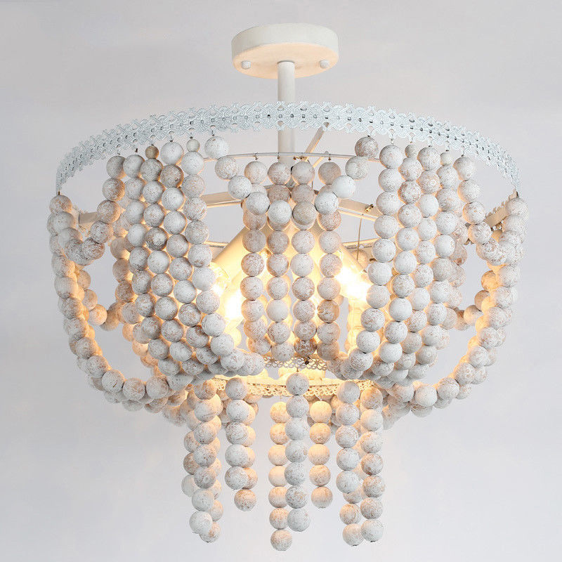 official photos 302d0 f0491 Details about Vintage Ceiling Lighting Lamps Round Wood Beads Classic White  Semi Flush Mount