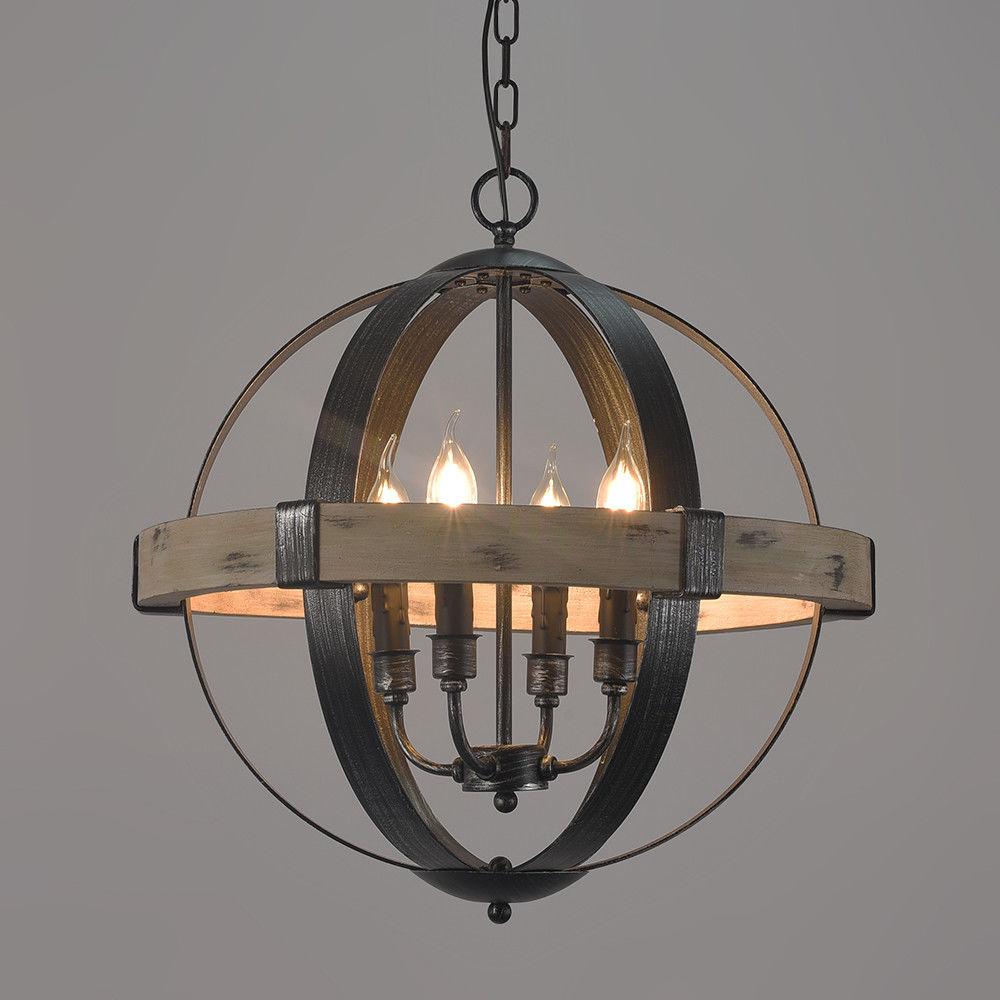 Rustic artcraft wooden globe shaped wrought iron chandelier