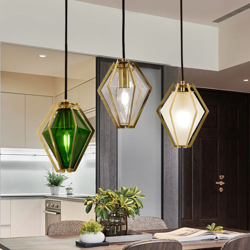 Diamond Shaped Brass Metal Frame Glass Shade Kitchen ...