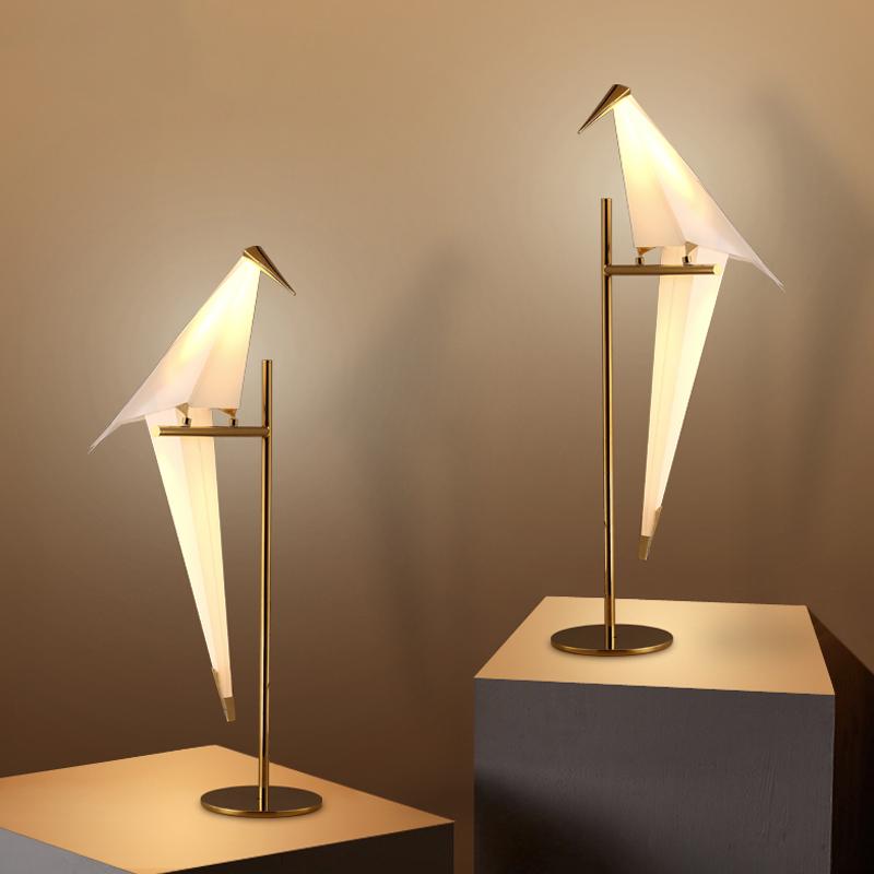 Details about Bird Lampshde Bedroom Bedside Table Lights Modern LED Accent  Desk Lamp Decor