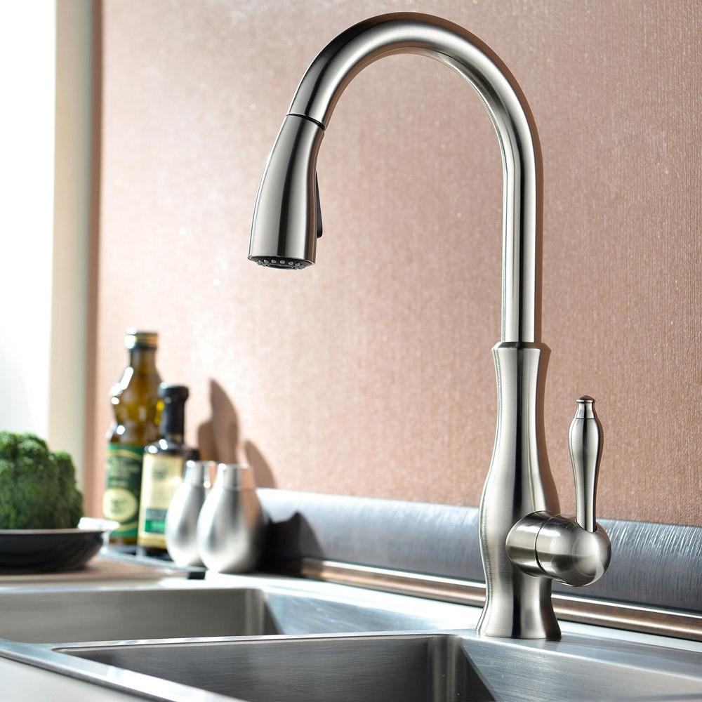 Gooseneck Monobloc Kitchen Sink Mixer Water Tap Pull Out Sprayer Brushed Nickel Ebay