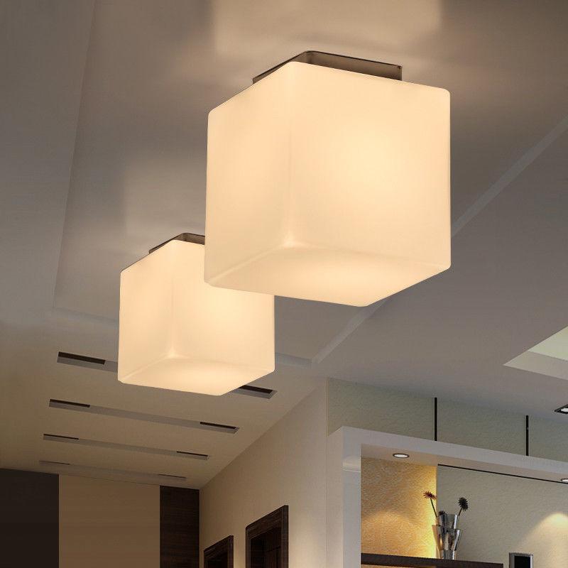 Small Large White Glass Cube Shade 1 Light Semi Flush Mount Ceiling Lamp Fixture Ebay