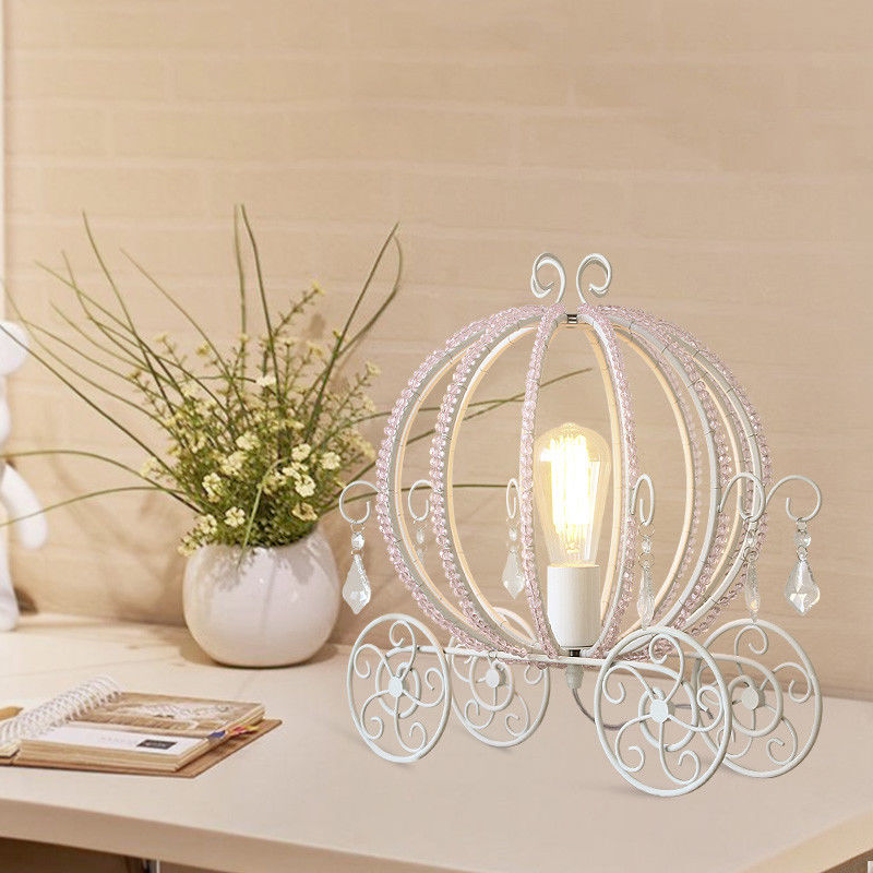 White Metal Beaded Cinderella S Carriage Desk Light Table