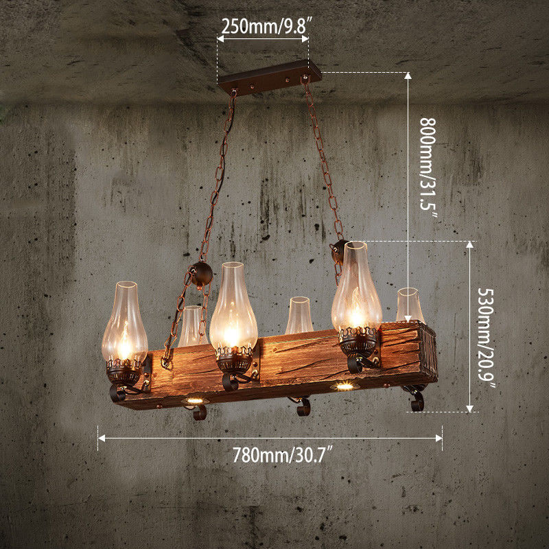 Industrial Lighting Wood Beam Glass Lamp Shade Dining