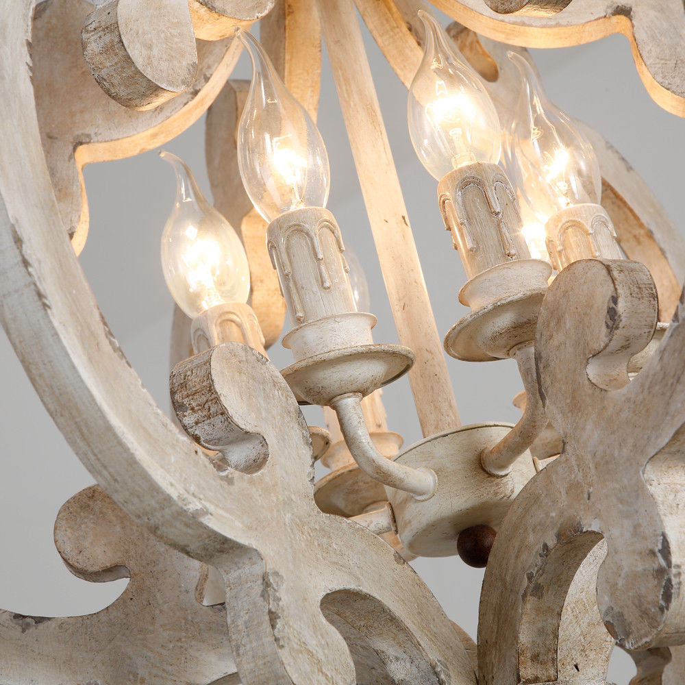 Antique-Wood-amp-Iron-Chandelier-Pendant-Lamp-with-6-Light-in-Distressed-White