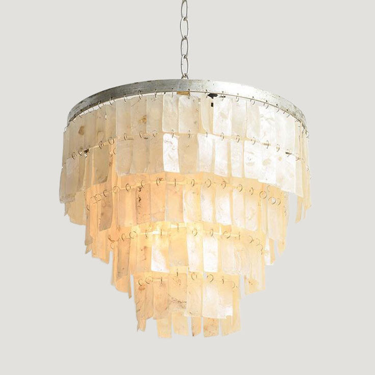 Classic-Style-Mother-of-Pearl-1-Light-Pendant-Light-with-Round-Metal-Frame-Lamp