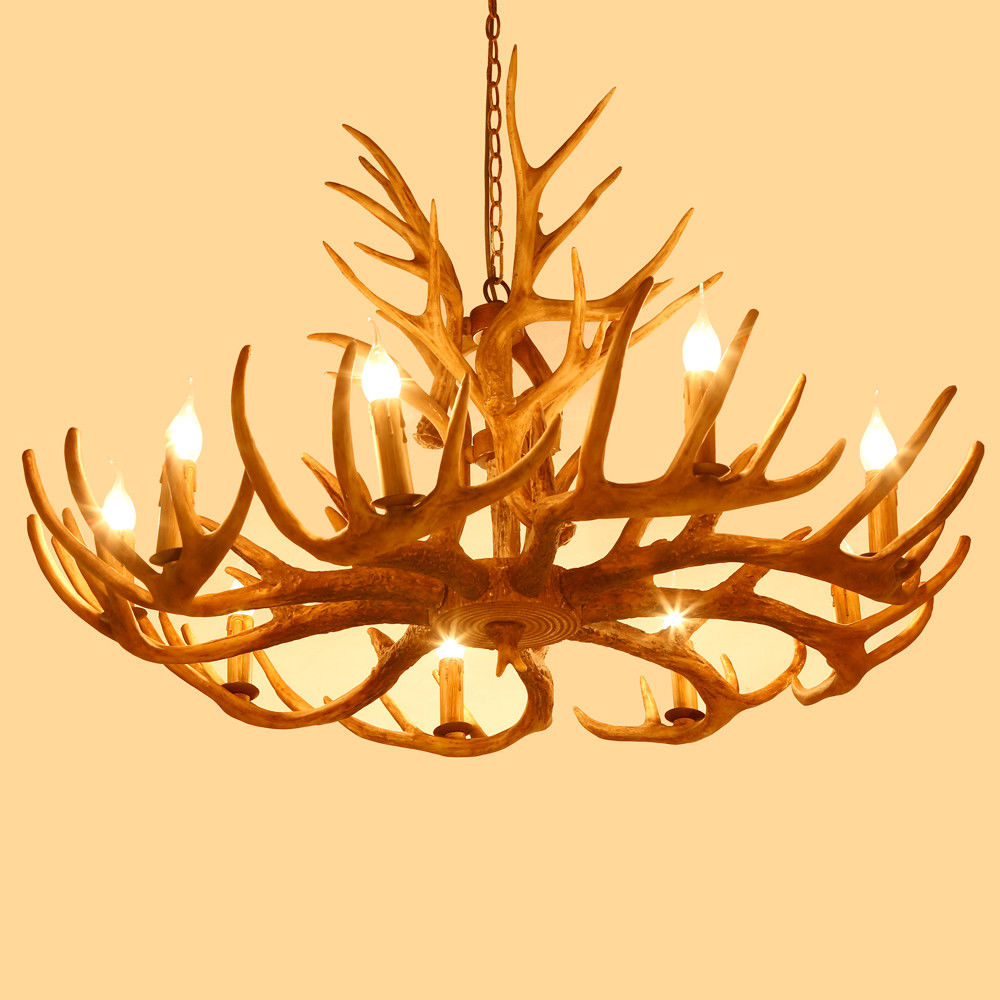 Faux Deer Antler Resin Ceiling Lights Chandelier With 2