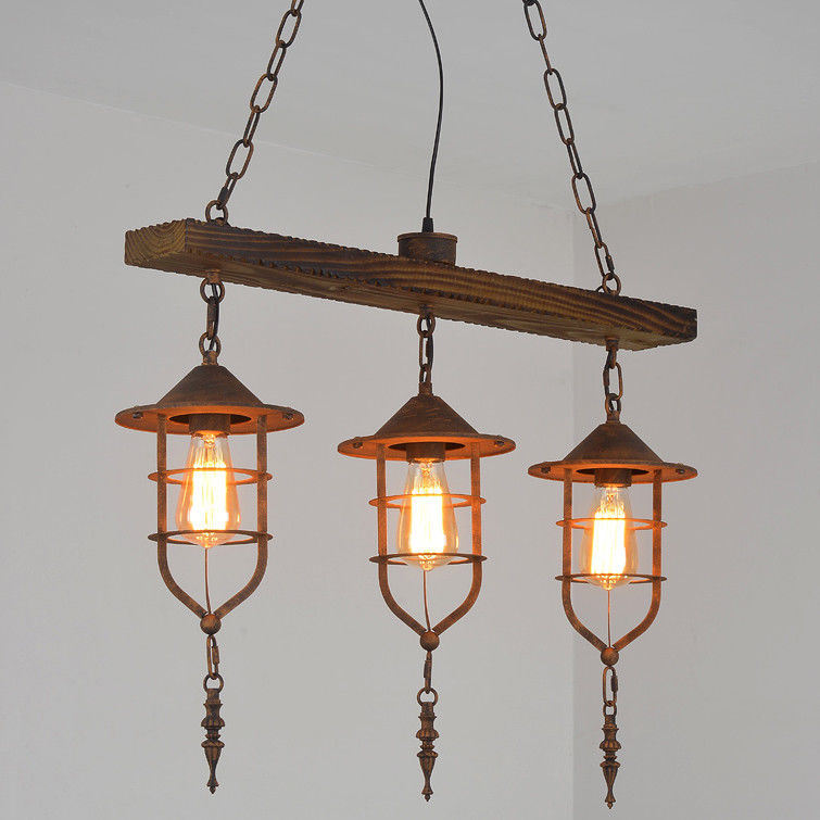 Details About Retro Island Ceiling Suspended Pendant Lighting Nautical Wood Beam Metal Cage