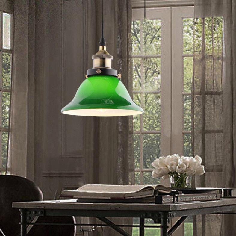 4270ae5c328a Emerald Green Glass Lamp Shade Retro Hanging Pendant Light Ceiling ...