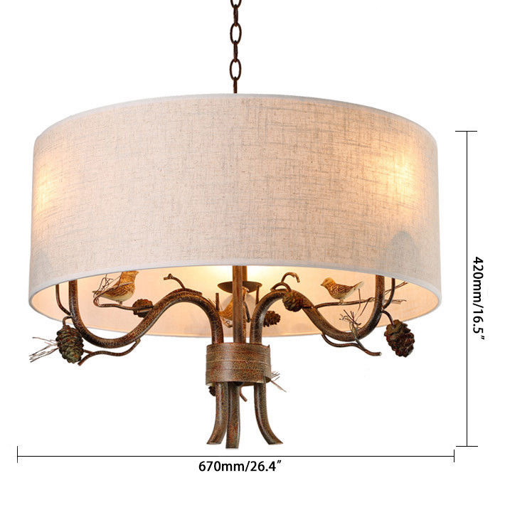 Pendant-Lighting-Drum-Fabric-Shade-Curved-Branch-Arms-3-Light-Ceiling-Chandelier thumbnail 14