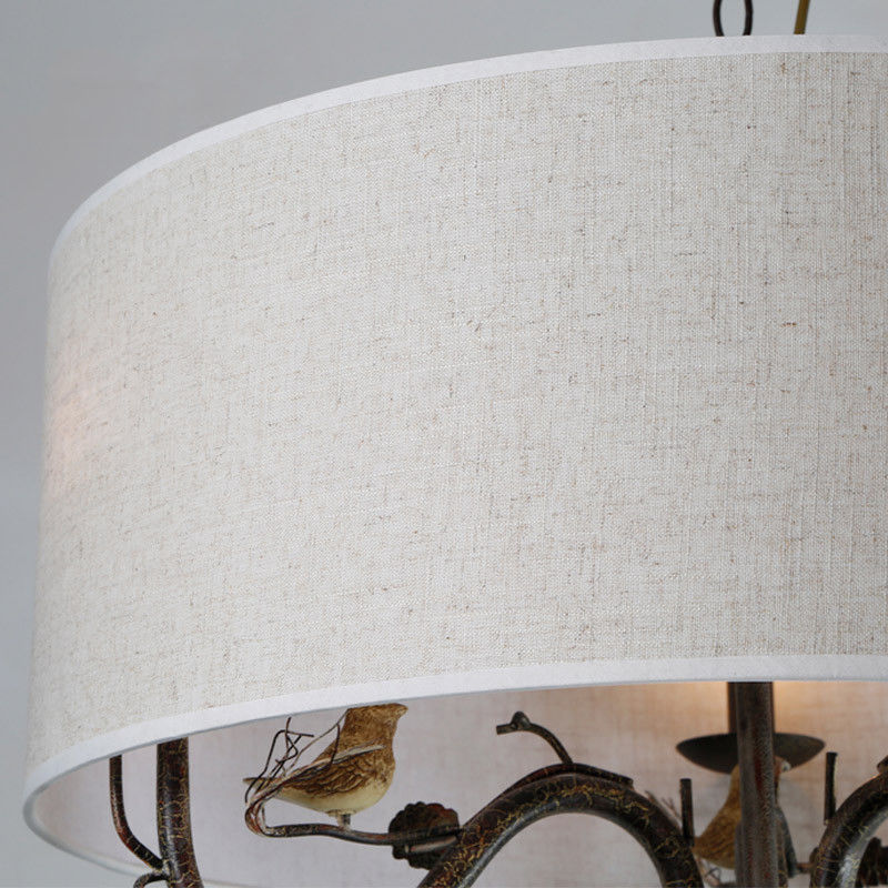 Pendant-Lighting-Drum-Fabric-Shade-Curved-Branch-Arms-3-Light-Ceiling-Chandelier thumbnail 11