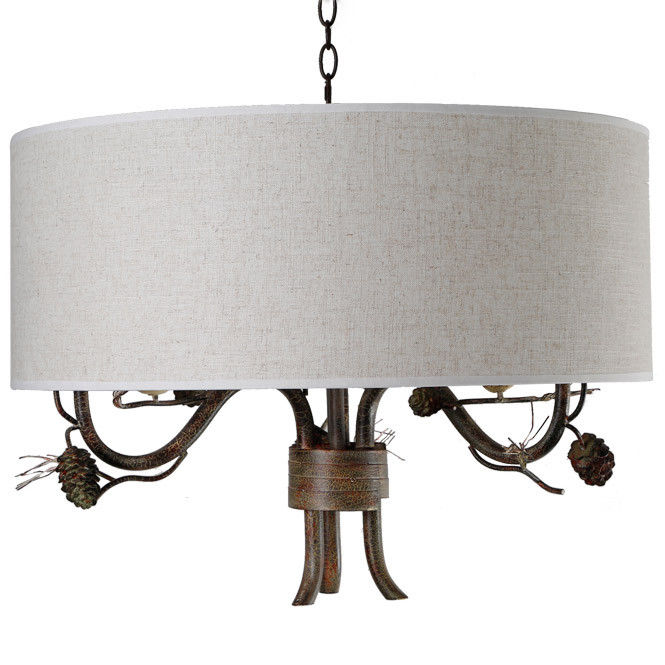 Pendant-Lighting-Drum-Fabric-Shade-Curved-Branch-Arms-3-Light-Ceiling-Chandelier thumbnail 10