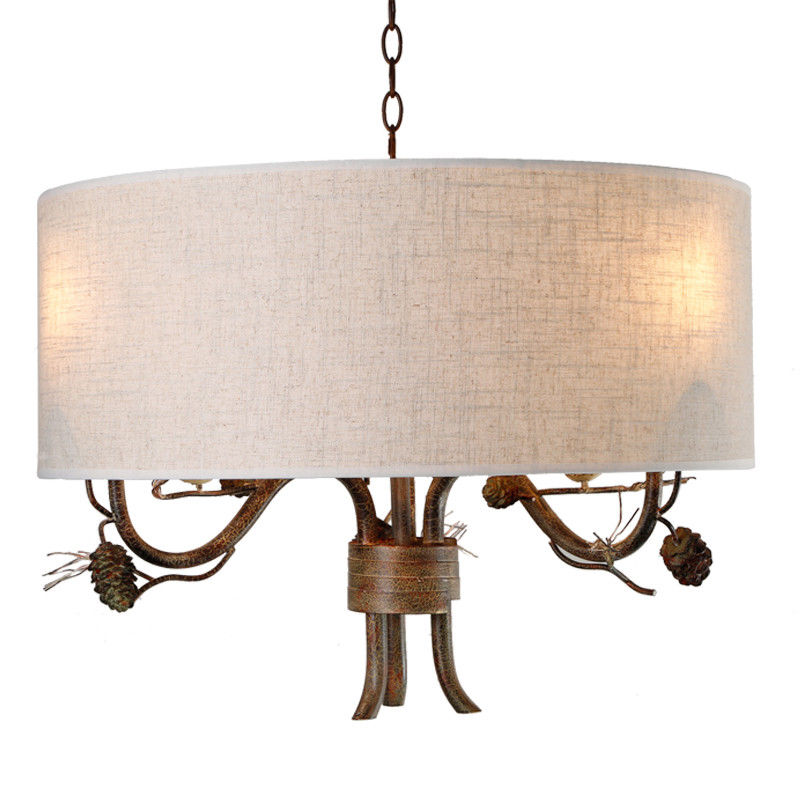 Pendant-Lighting-Drum-Fabric-Shade-Curved-Branch-Arms-3-Light-Ceiling-Chandelier thumbnail 9
