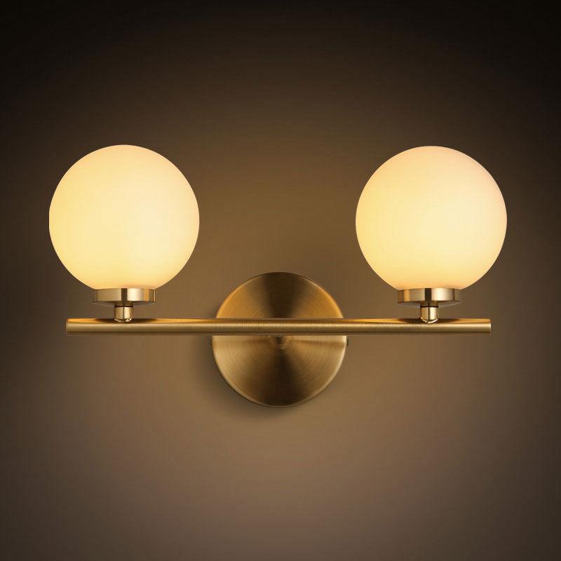 Minimalist Milky White Globe Glass Shade Wall Sconce Bathroom Vanity