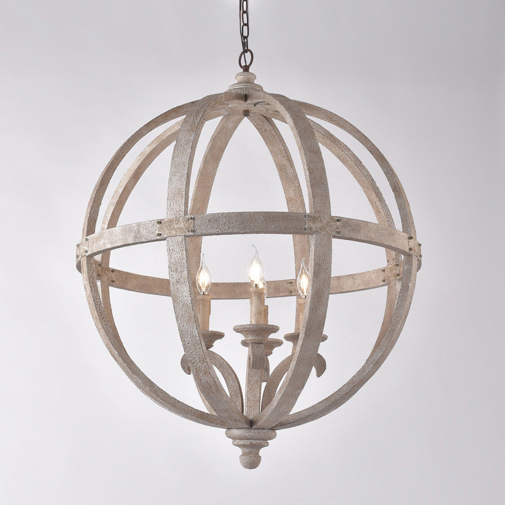 Details about rustic wooden globe hanging chandelier white distressed ceiling pendant 4 light