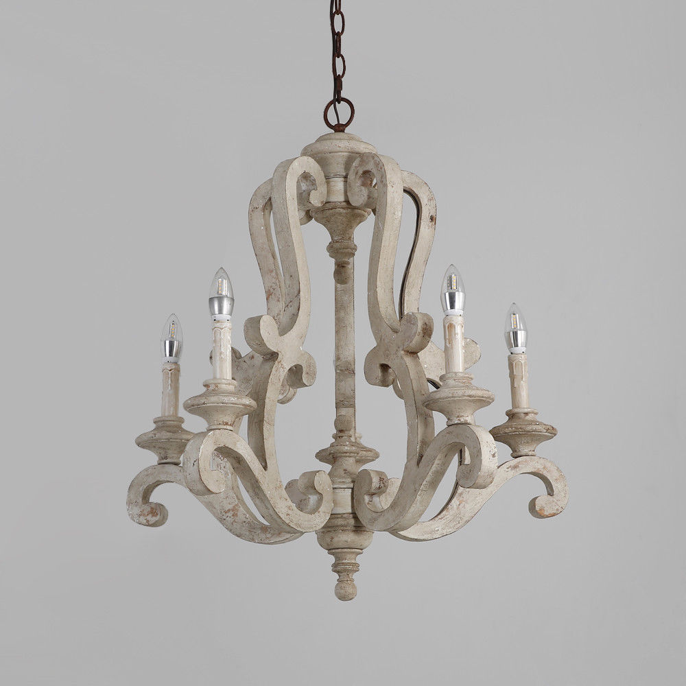 Retro-Distressed-Wood-5-Arms-Candle-Light-Chandelier-Cafe-Kitchen-Pendant-Lamp thumbnail 17